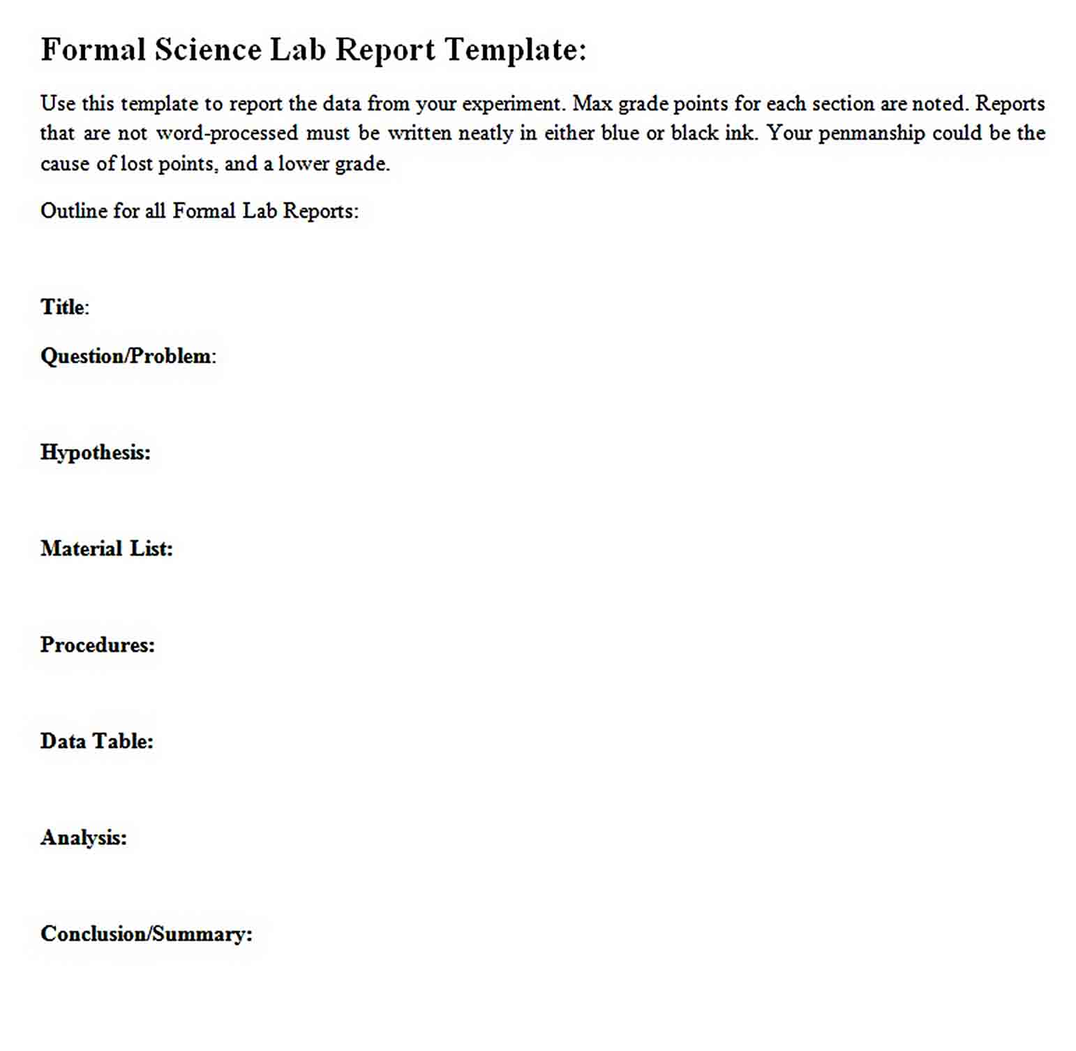 Templates Formal Science Lab Report