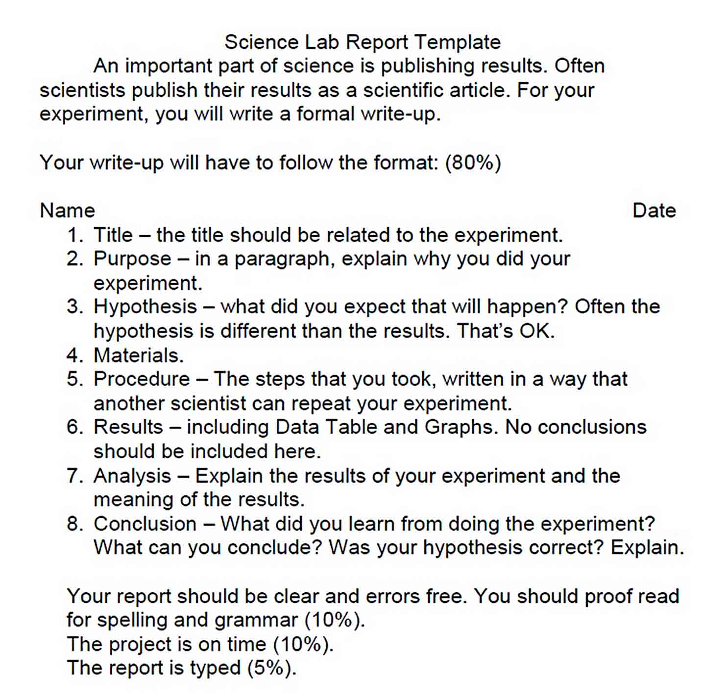 Templates Formal Science Lab Report 1 1