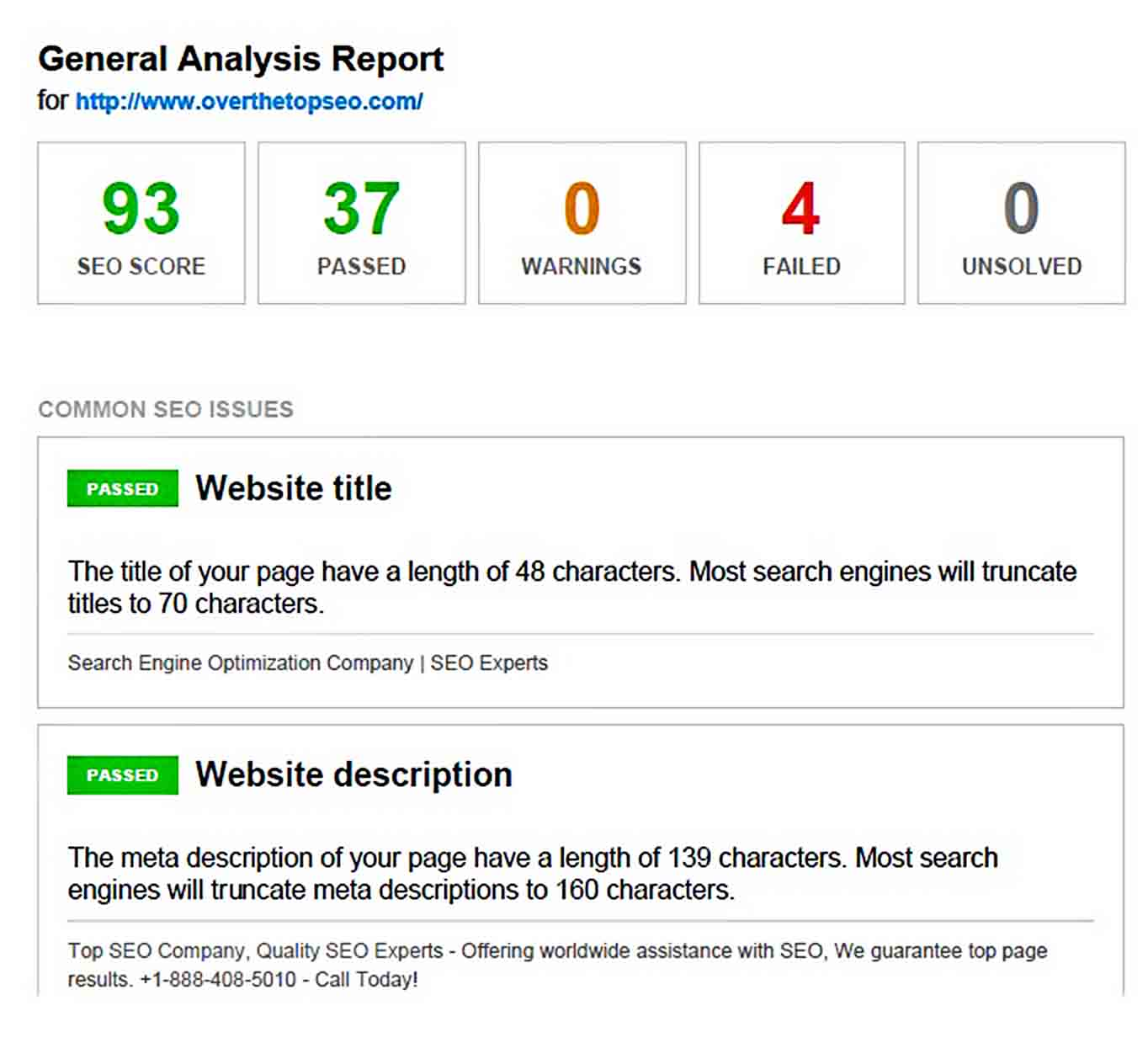 Templates General SEO Analysis Report