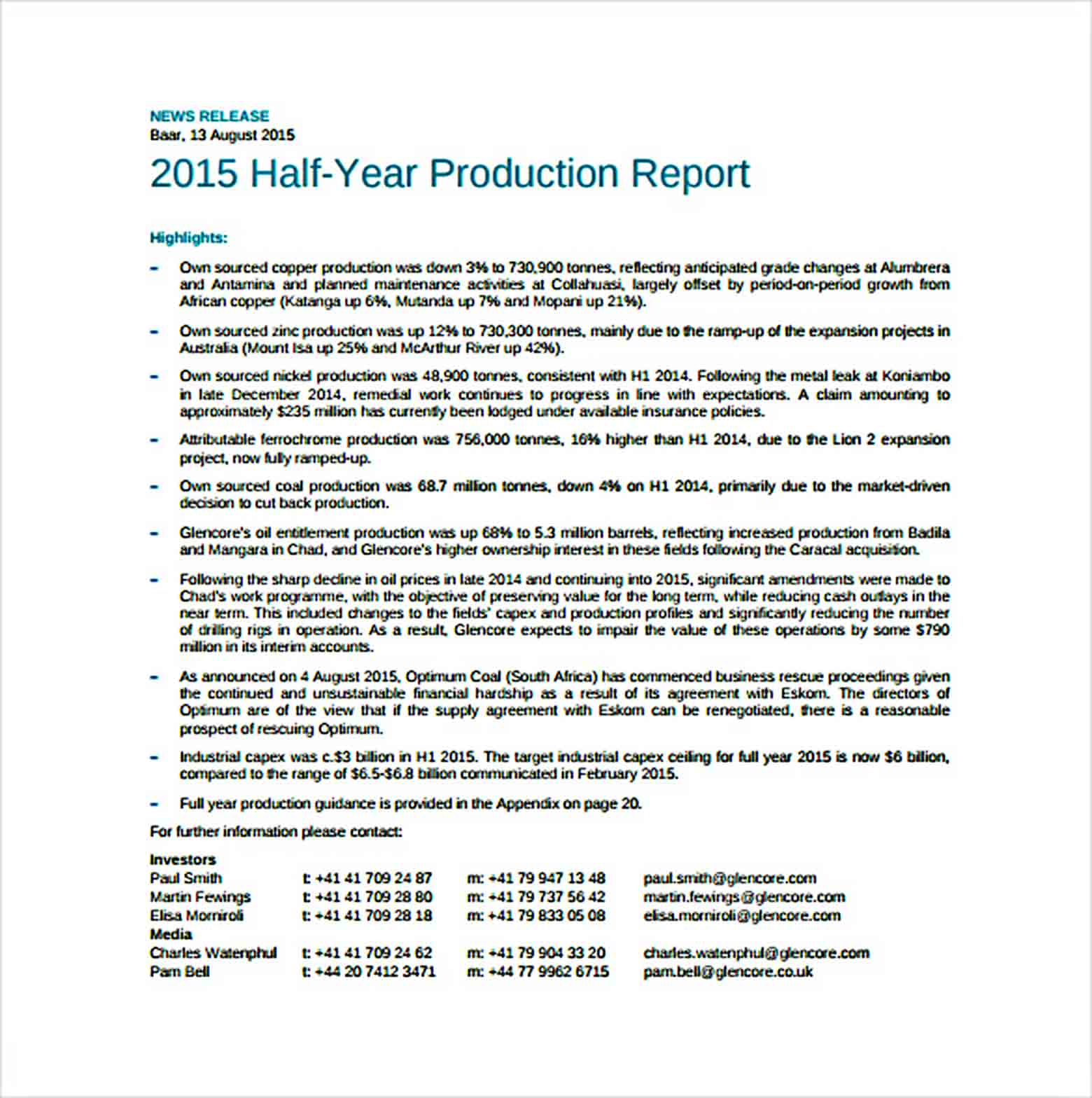 Templates Half Year Production Report