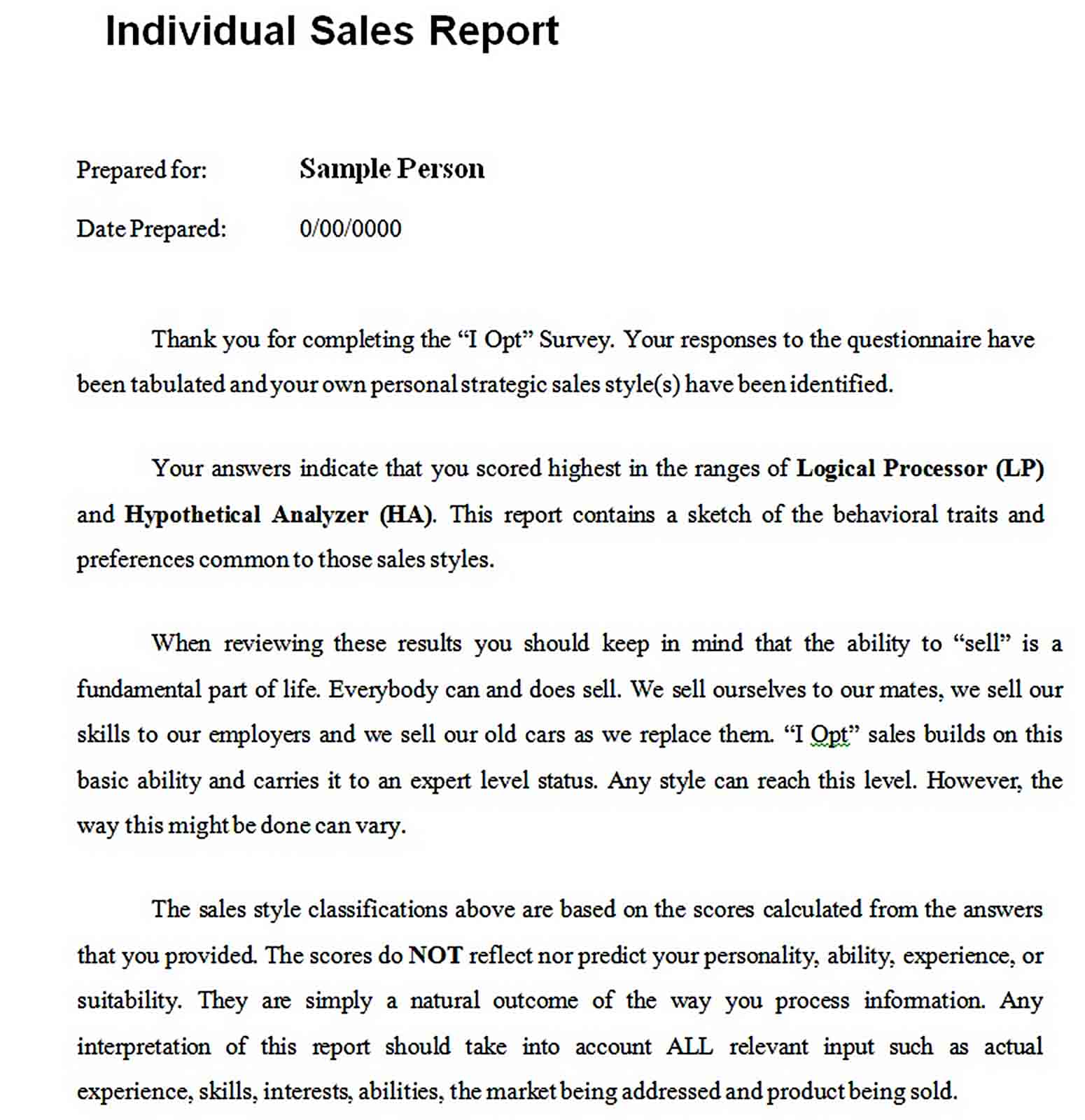 Templates Individual Sales Report