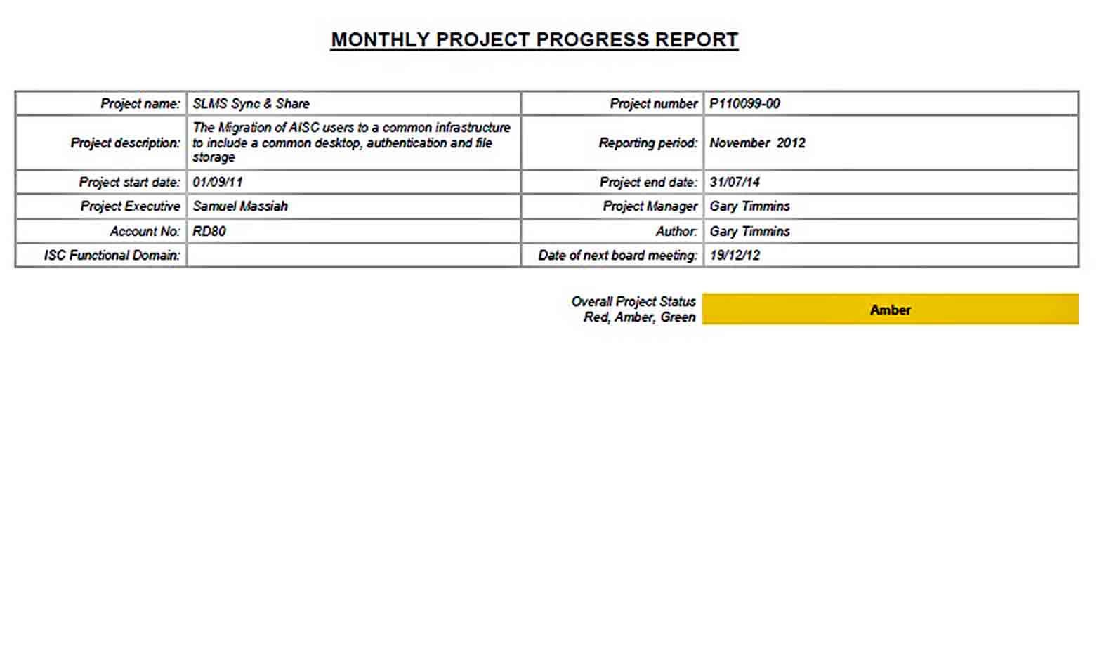 Templates MONTHLY PROGRESS REPORT