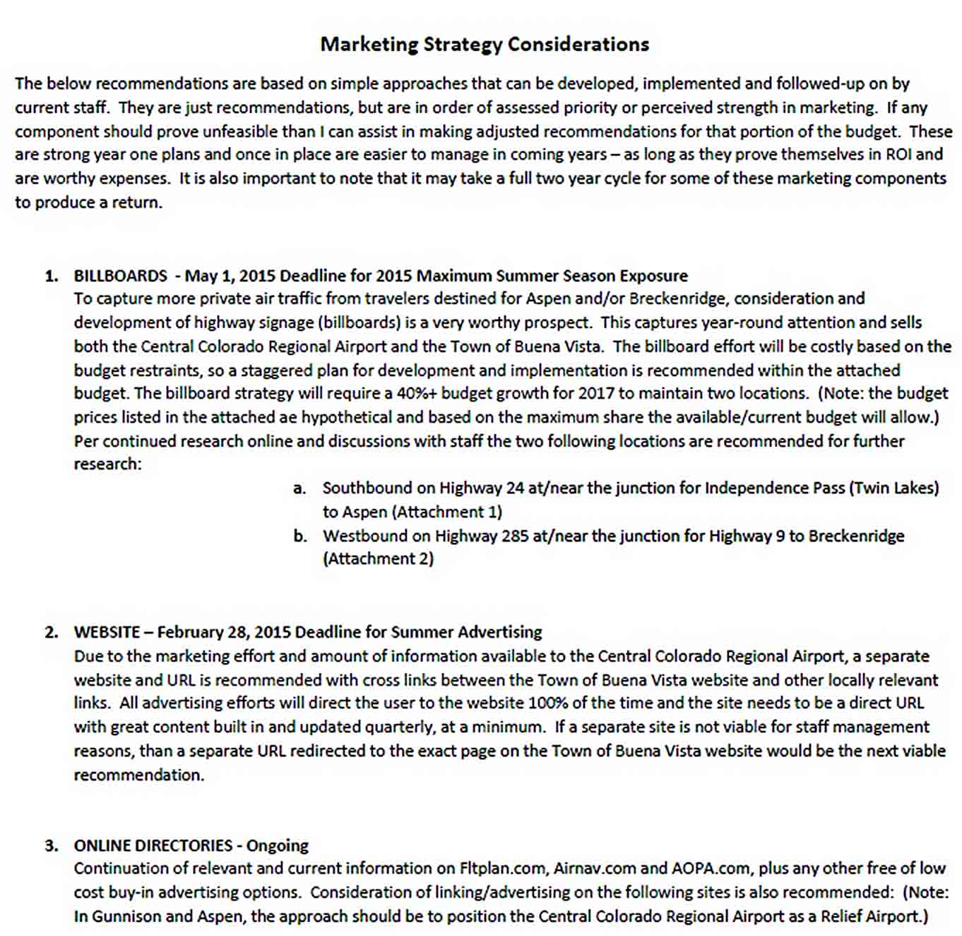 Templates Marketing Strategy Report
