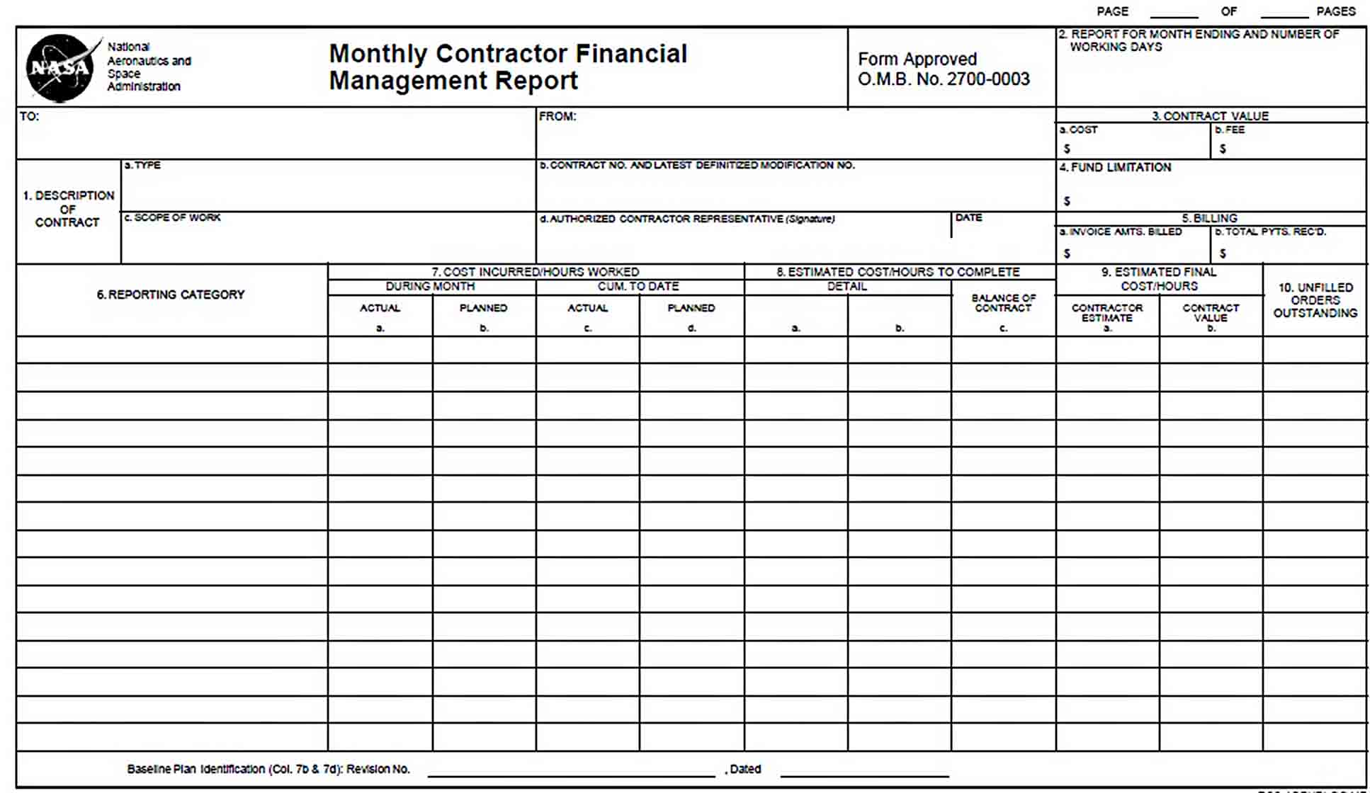 Templates Monthly Contractor Financial Management Report