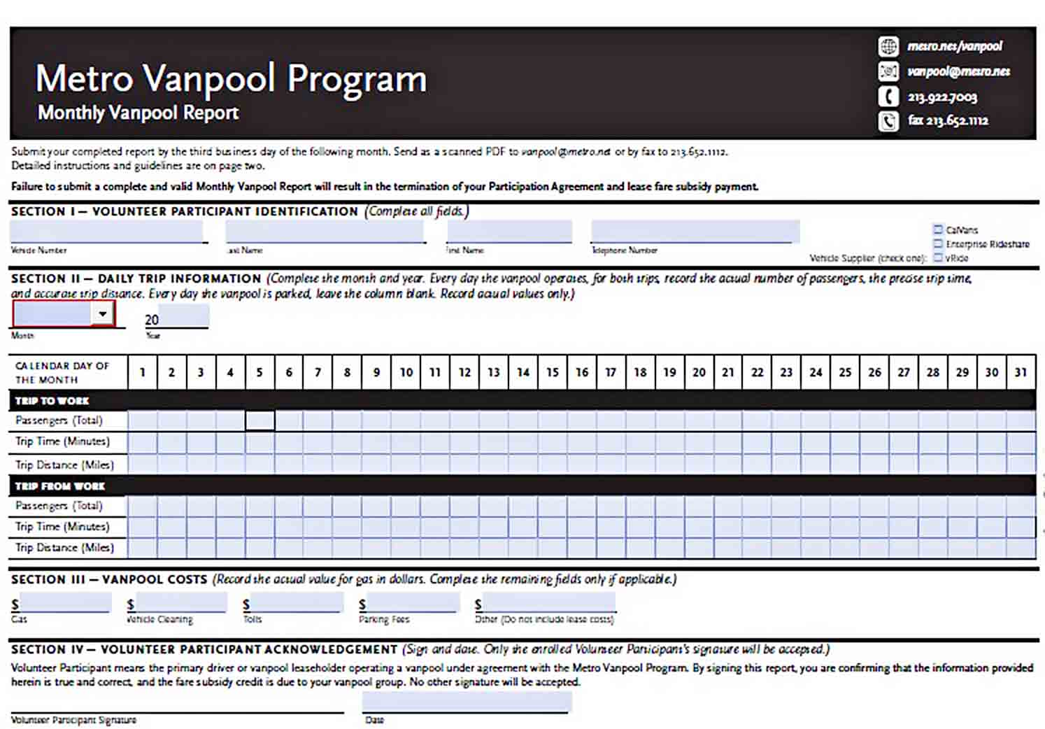 Templates Monthly Vanpool Report