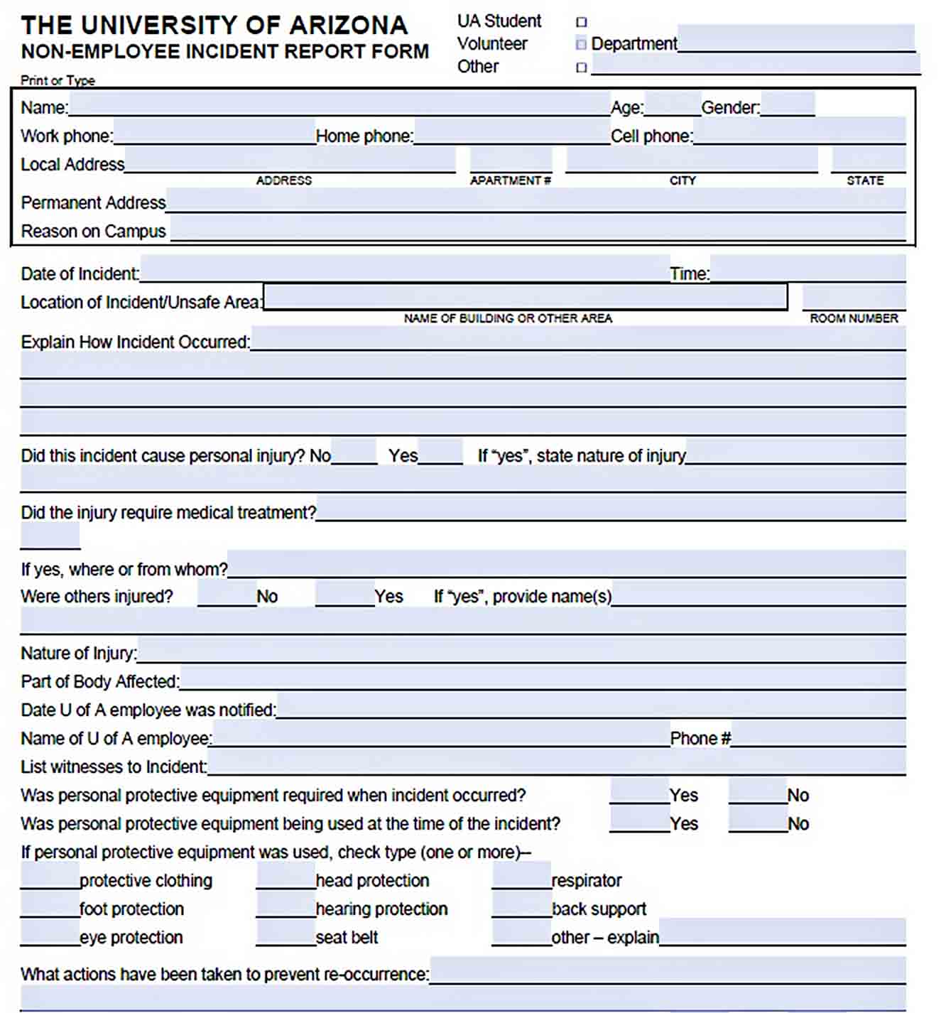 Templates Non Employee Incident Report Form Download