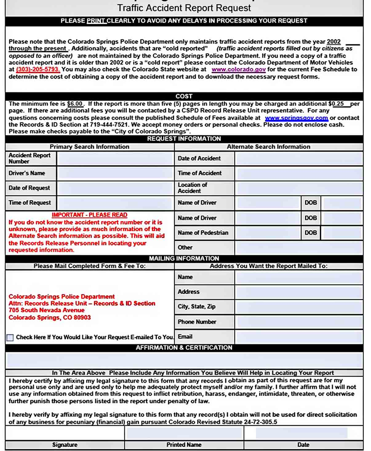 Templates Police Accident Report