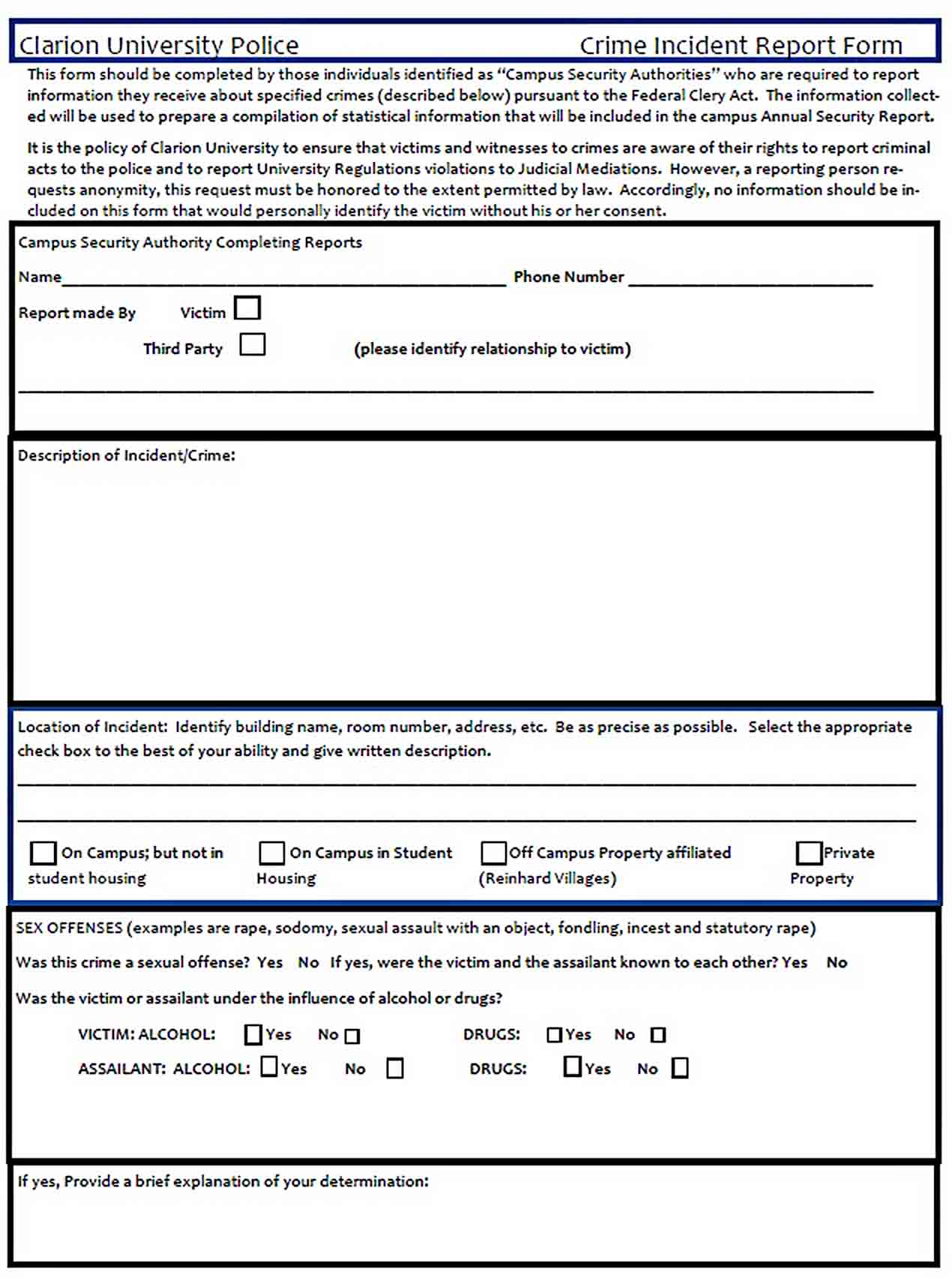 Templates Police Crime Report Form