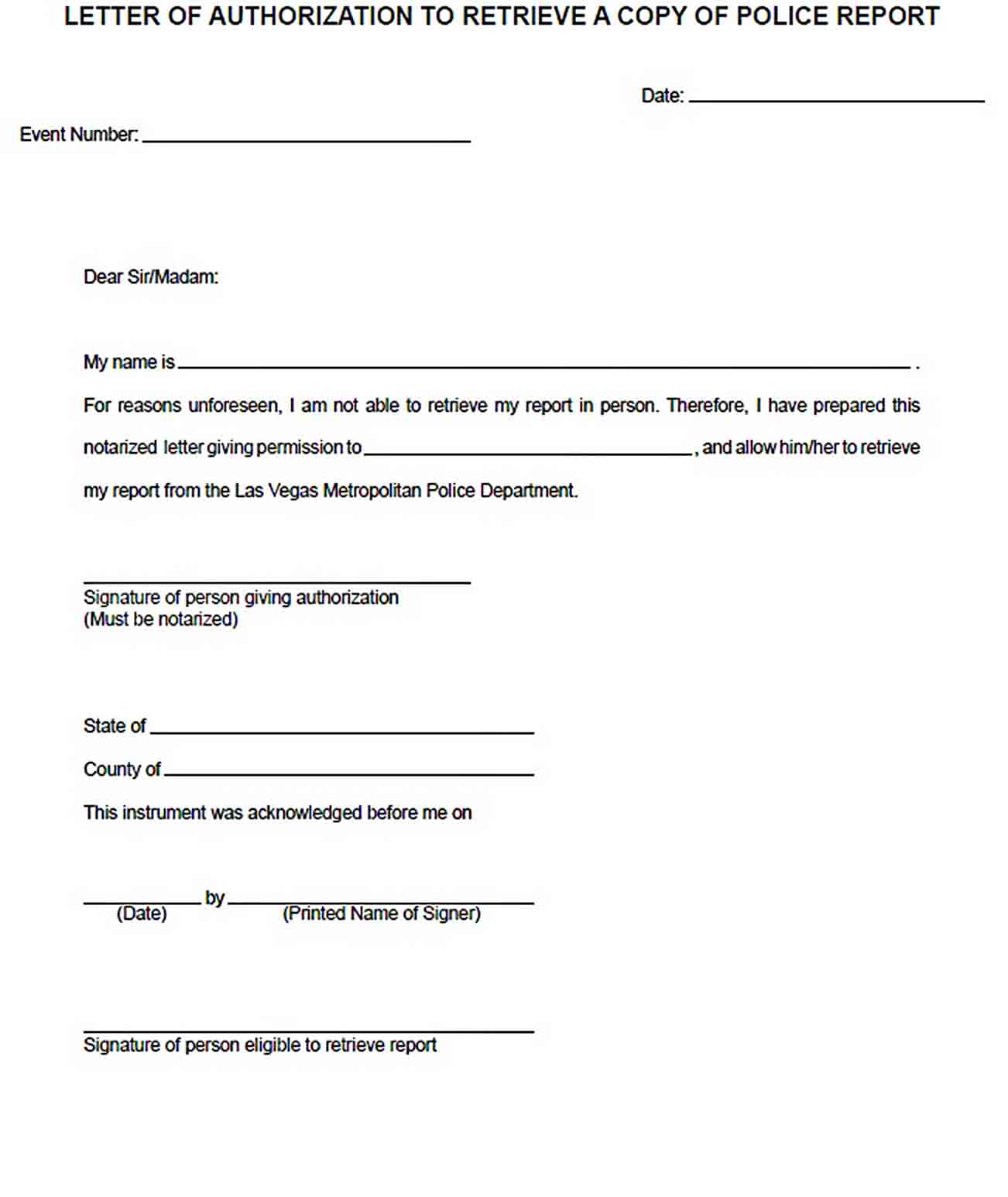Templates Police Report Acknowledgement Letter