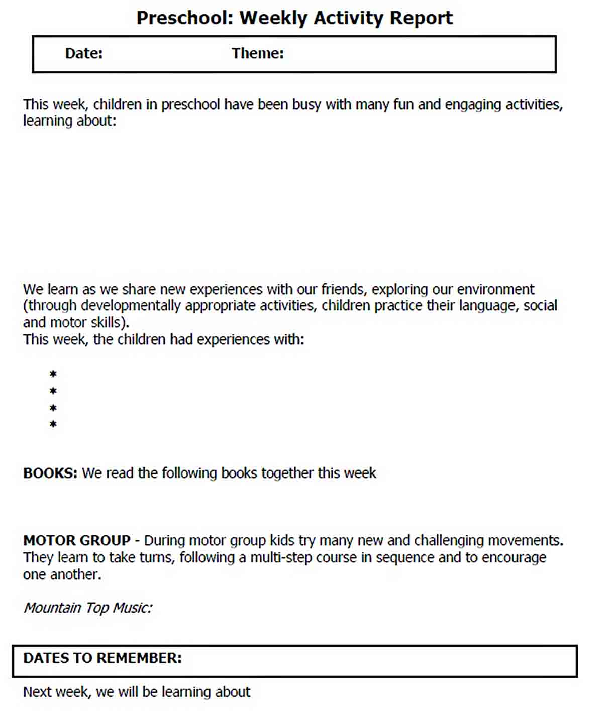 Templates Preschool Weekly Activity Report