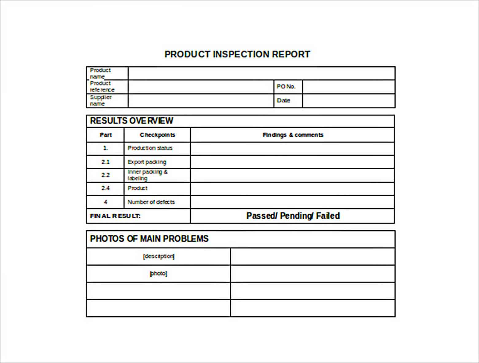 Templates Product Inspection Report Word