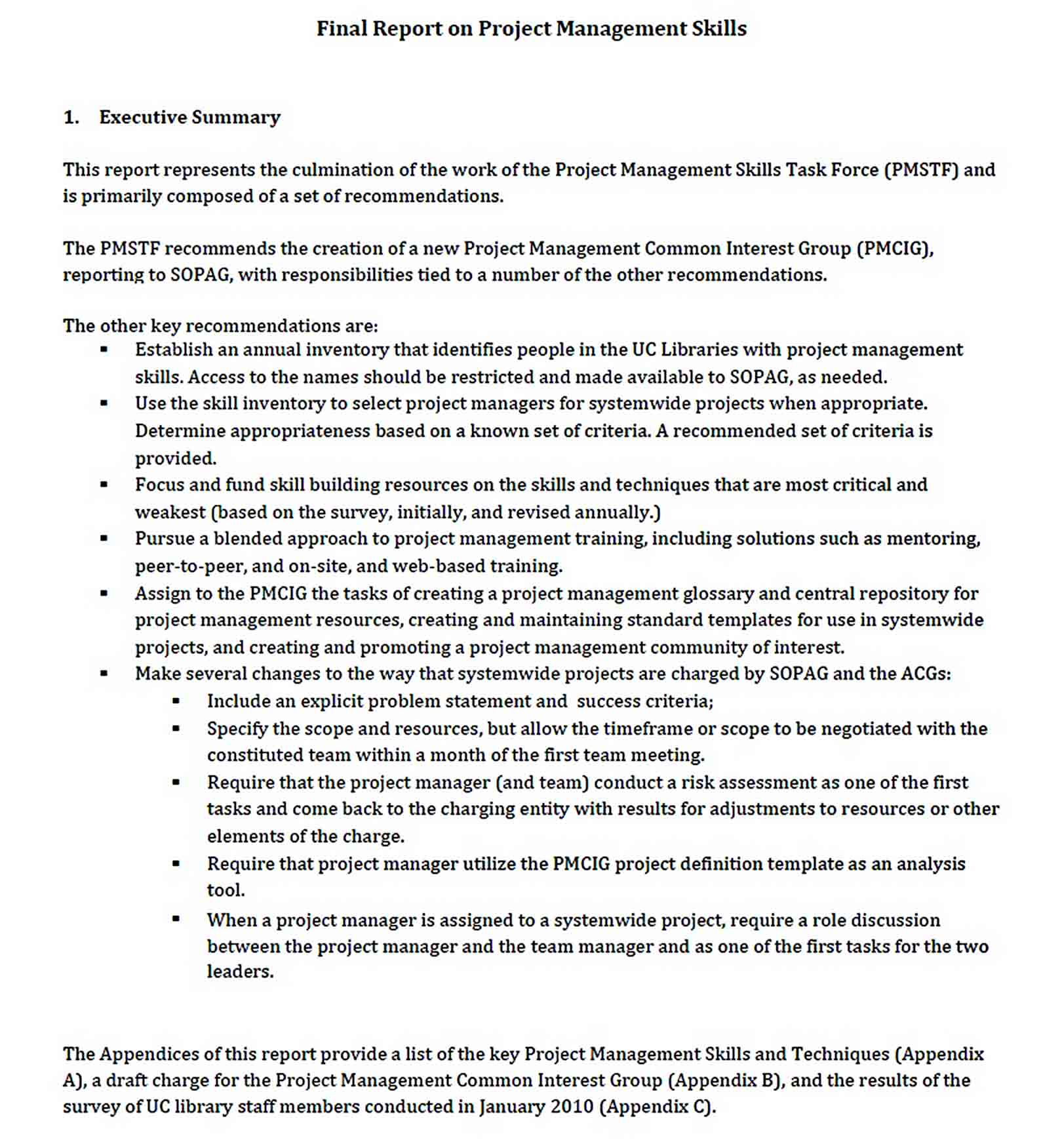 Templates Project Management Final Report