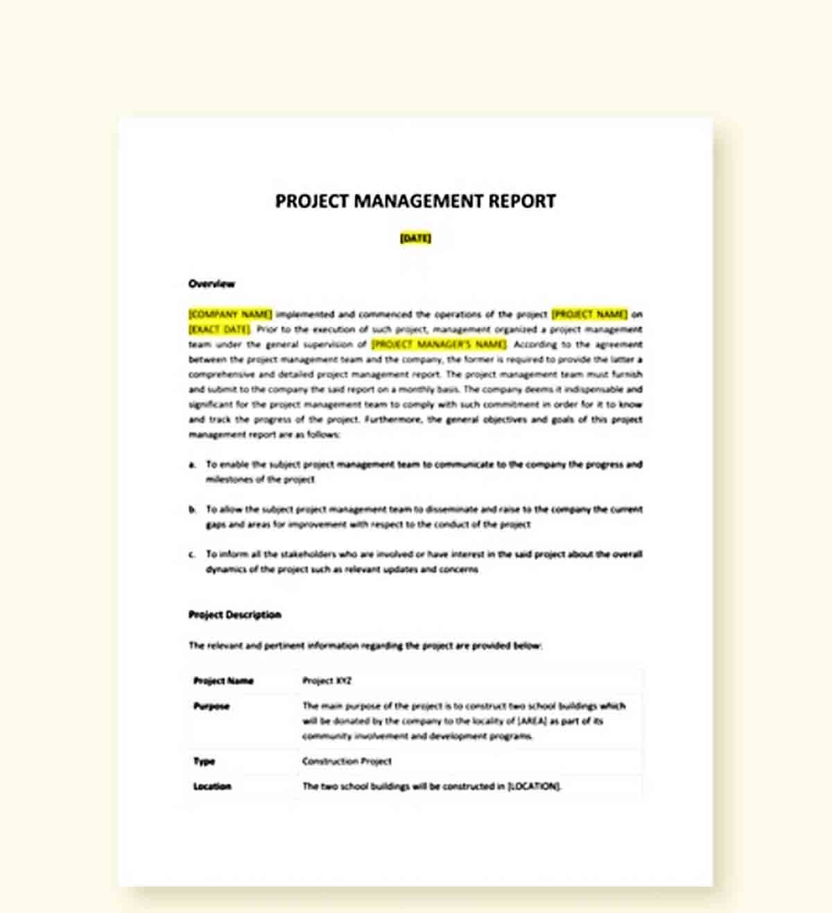 Templates Project Management Report