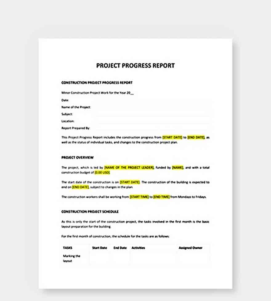Templates Project Progress Report