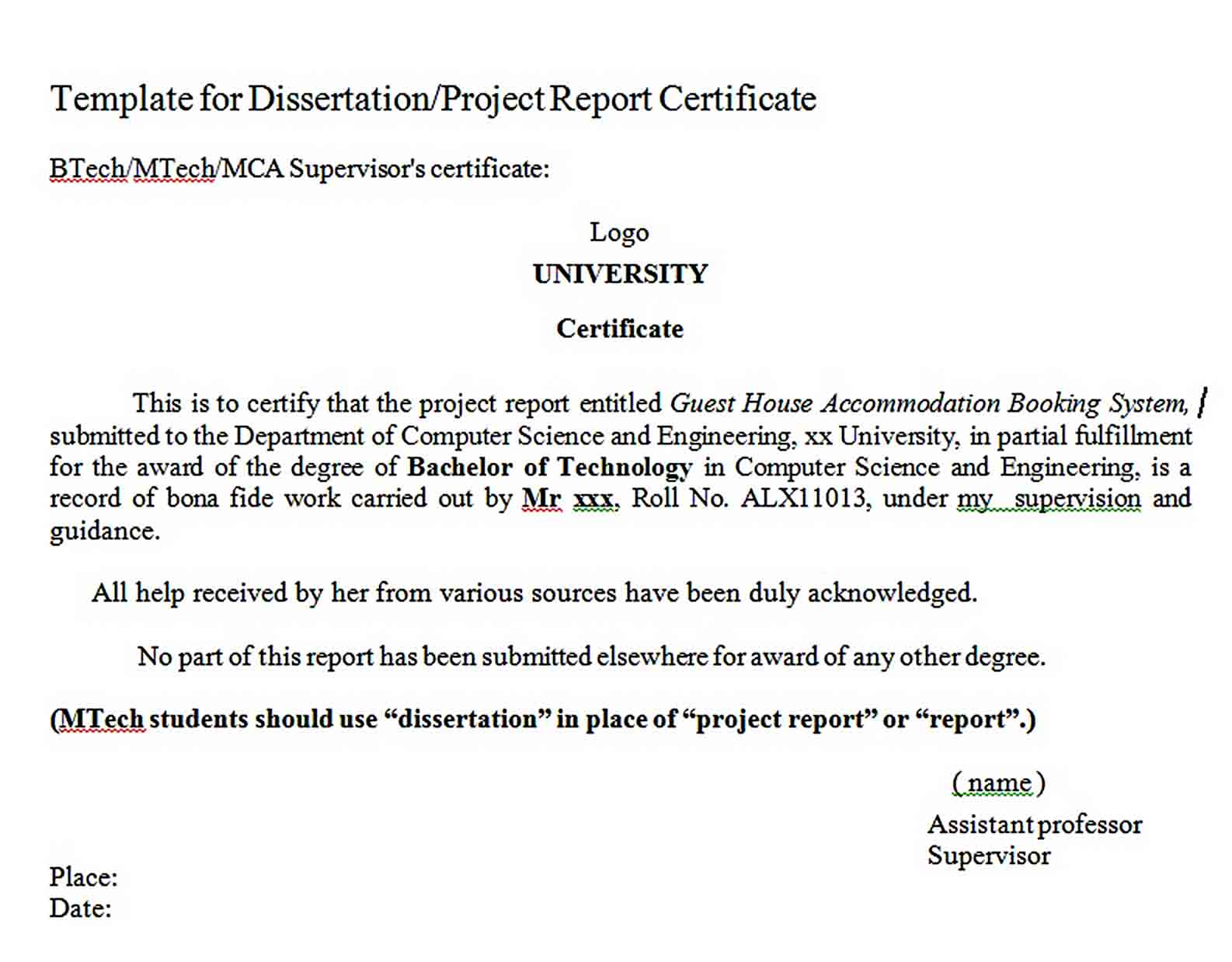 Templates Project Report Certificate Format