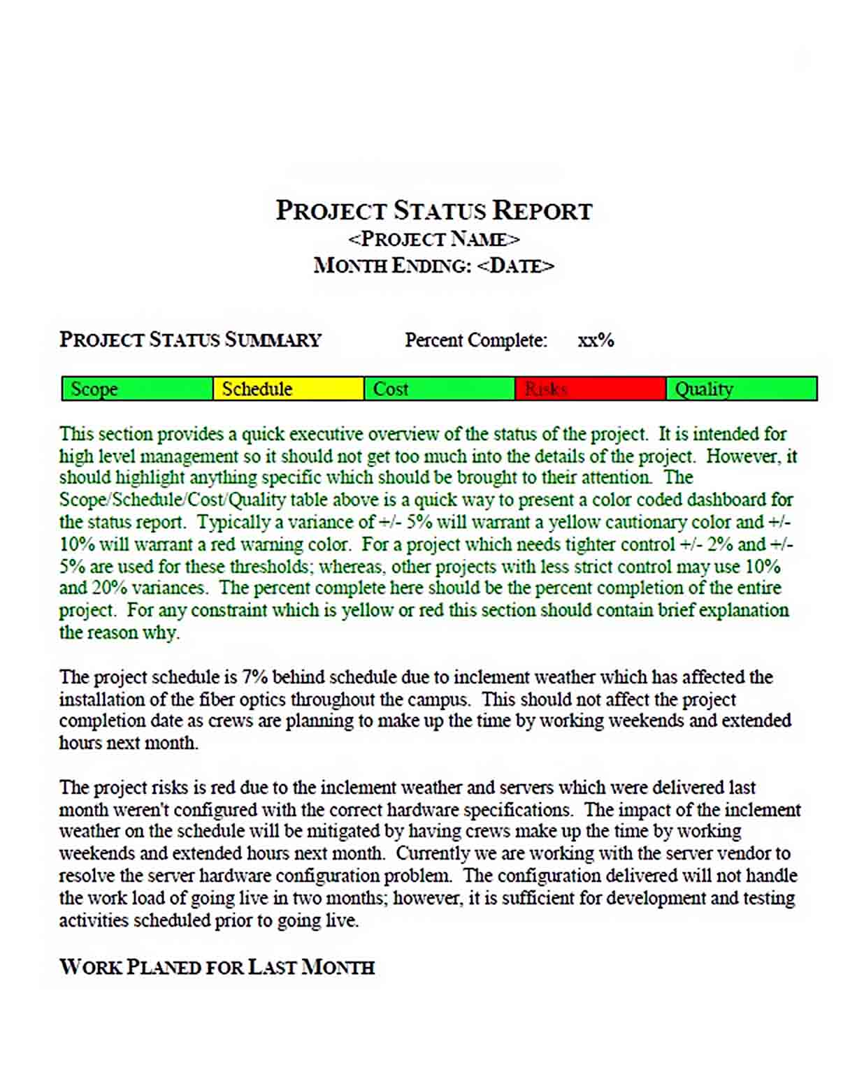 Templates Project Status Report Format