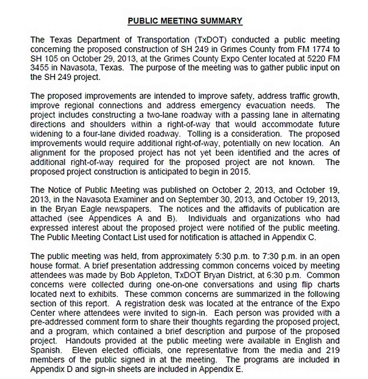 Templates Public Meeting Summary Report Download