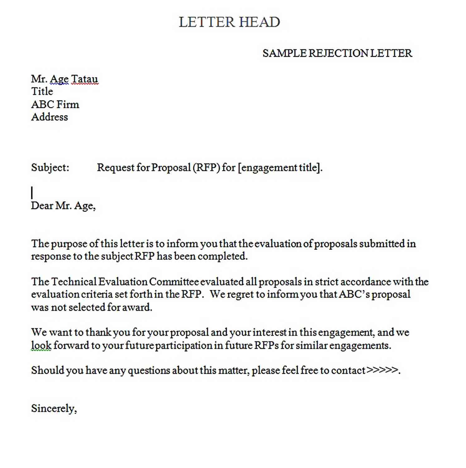 Templates Request For Proposal Rejection Letter