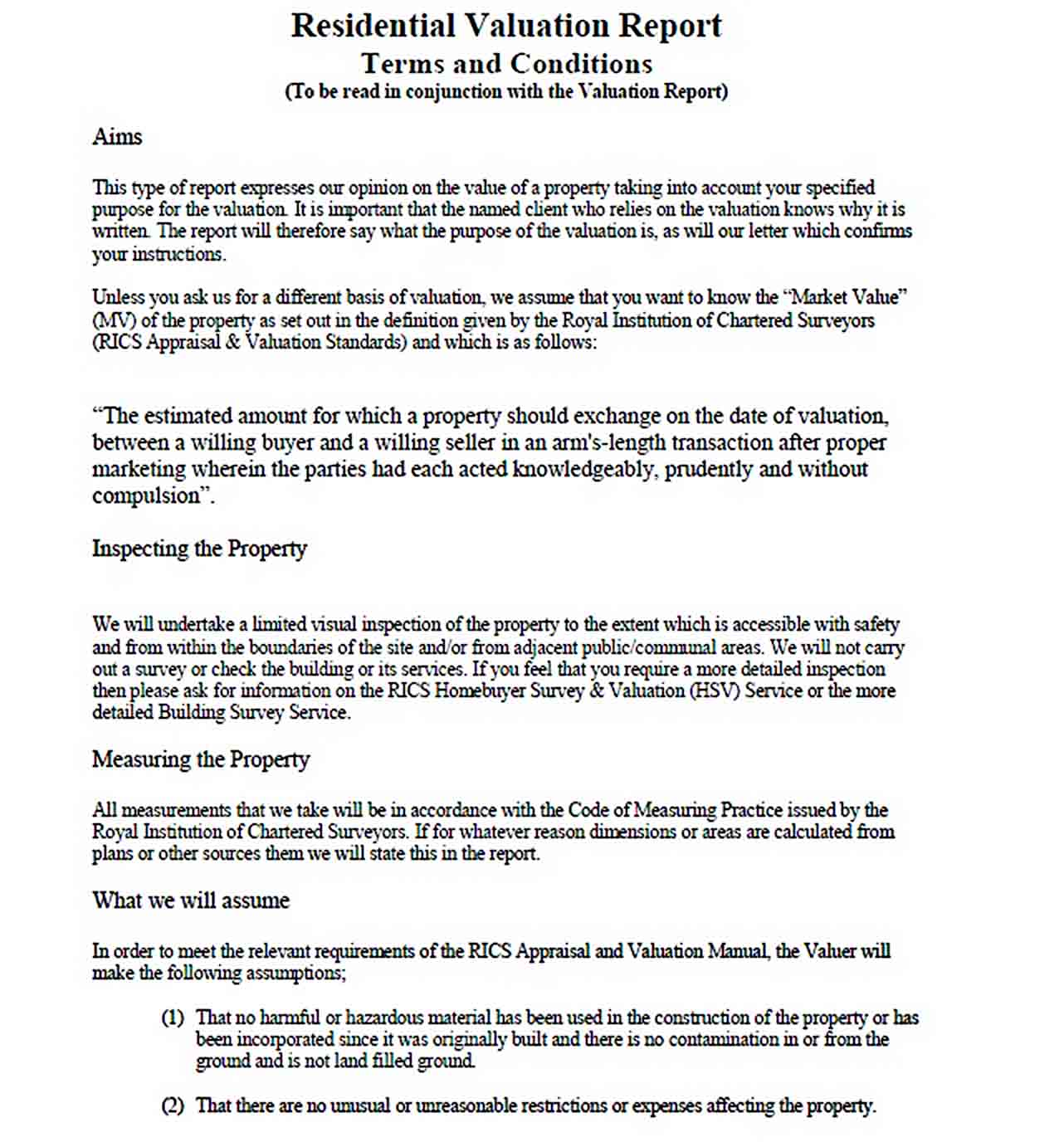 Templates Residential Valuation Report