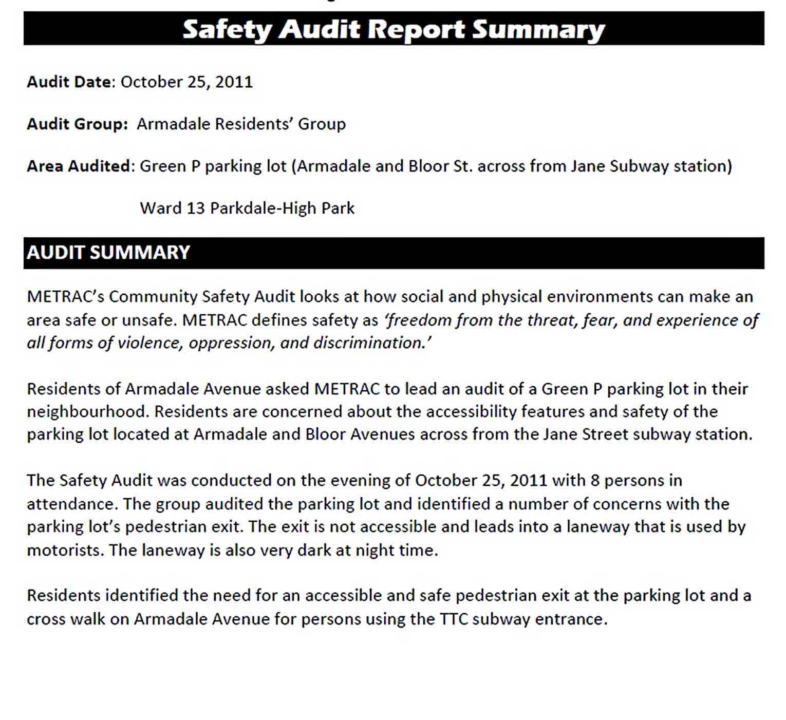Templates Safety Audit Summary Report