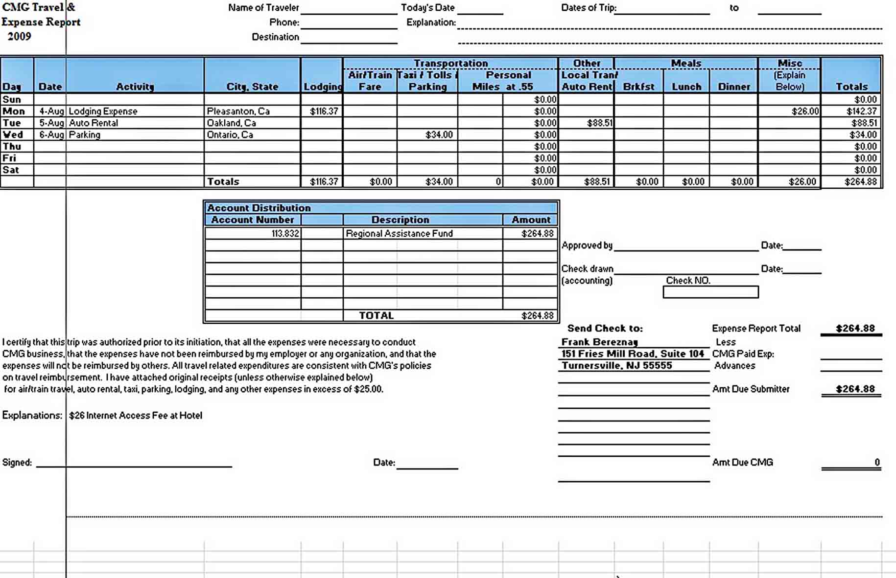 Templates Sample Expense Report