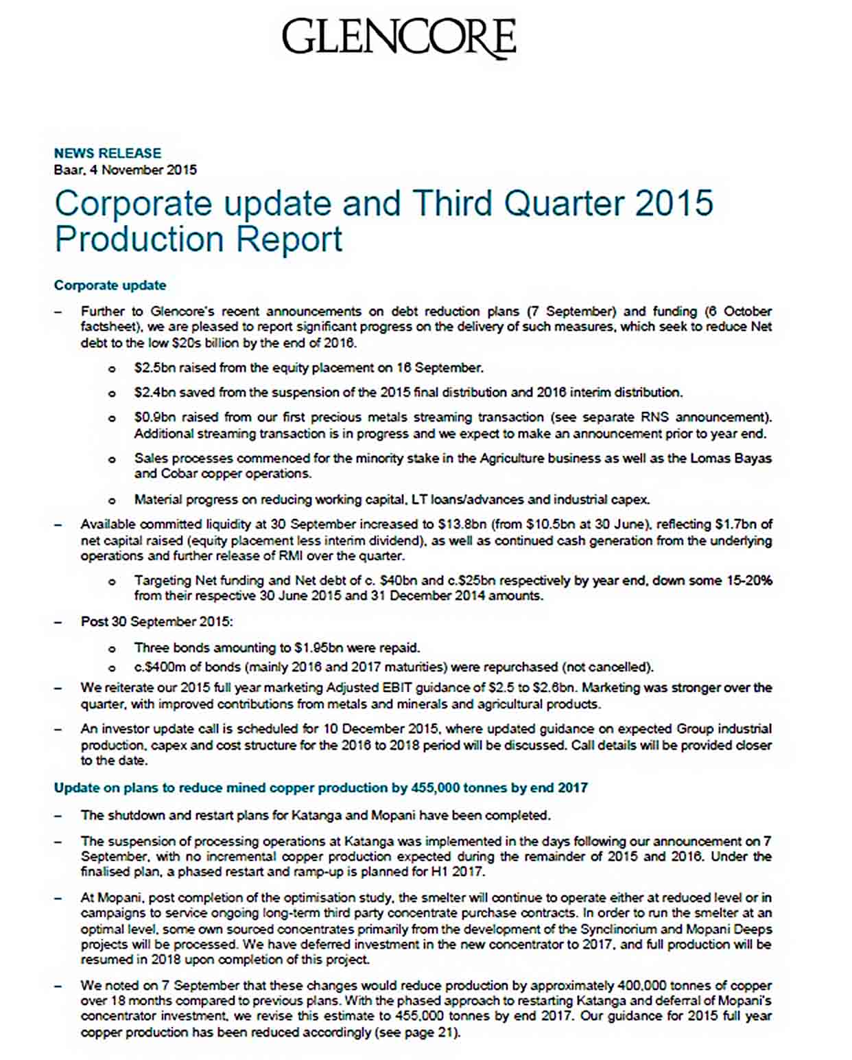 Templates Sample Glencore Production Report