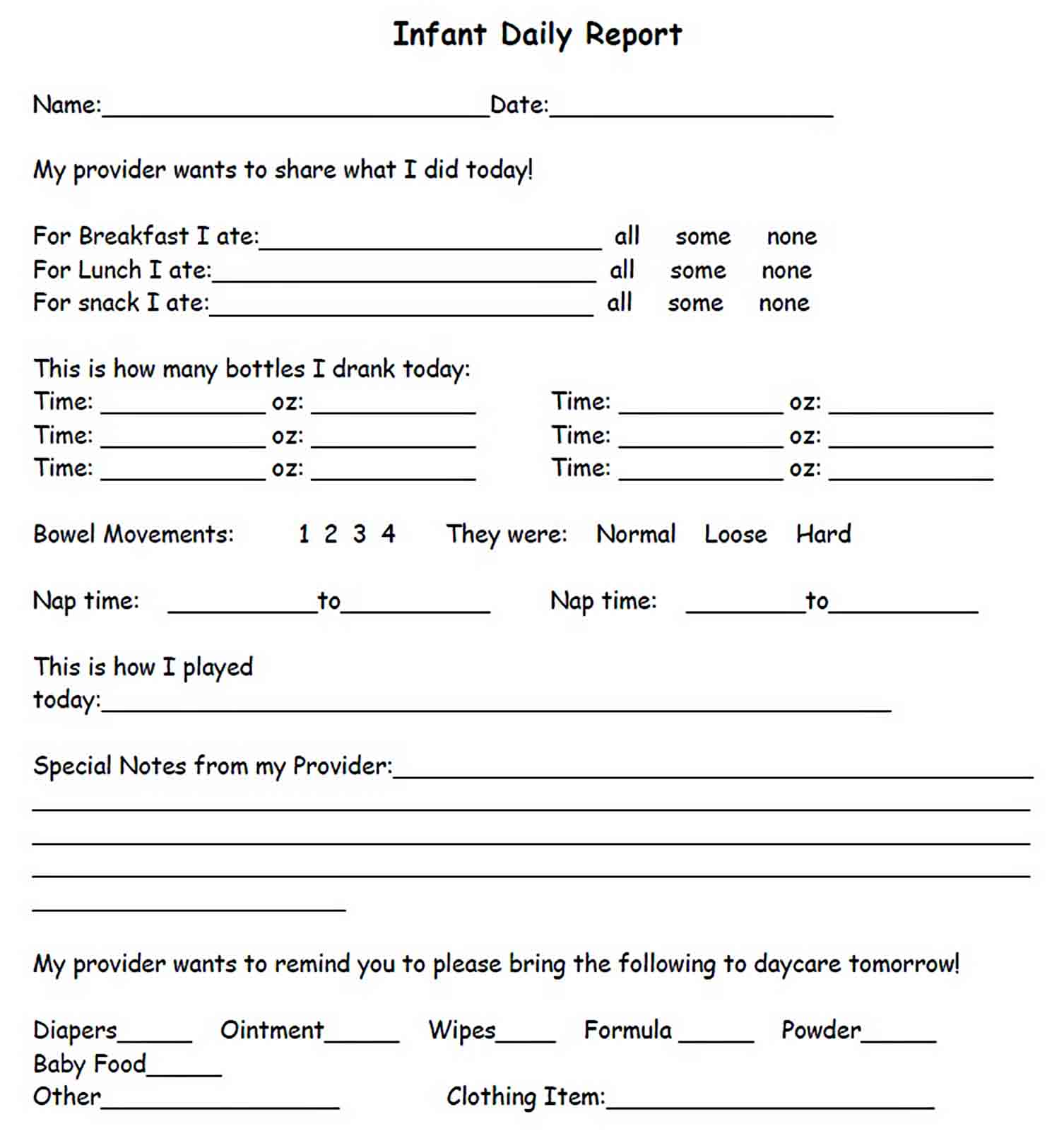 Templates Sample Infant Daily Report