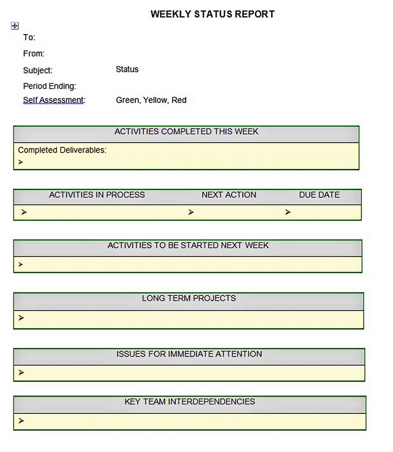Templates Sample Weekly Status Report Editable Download1