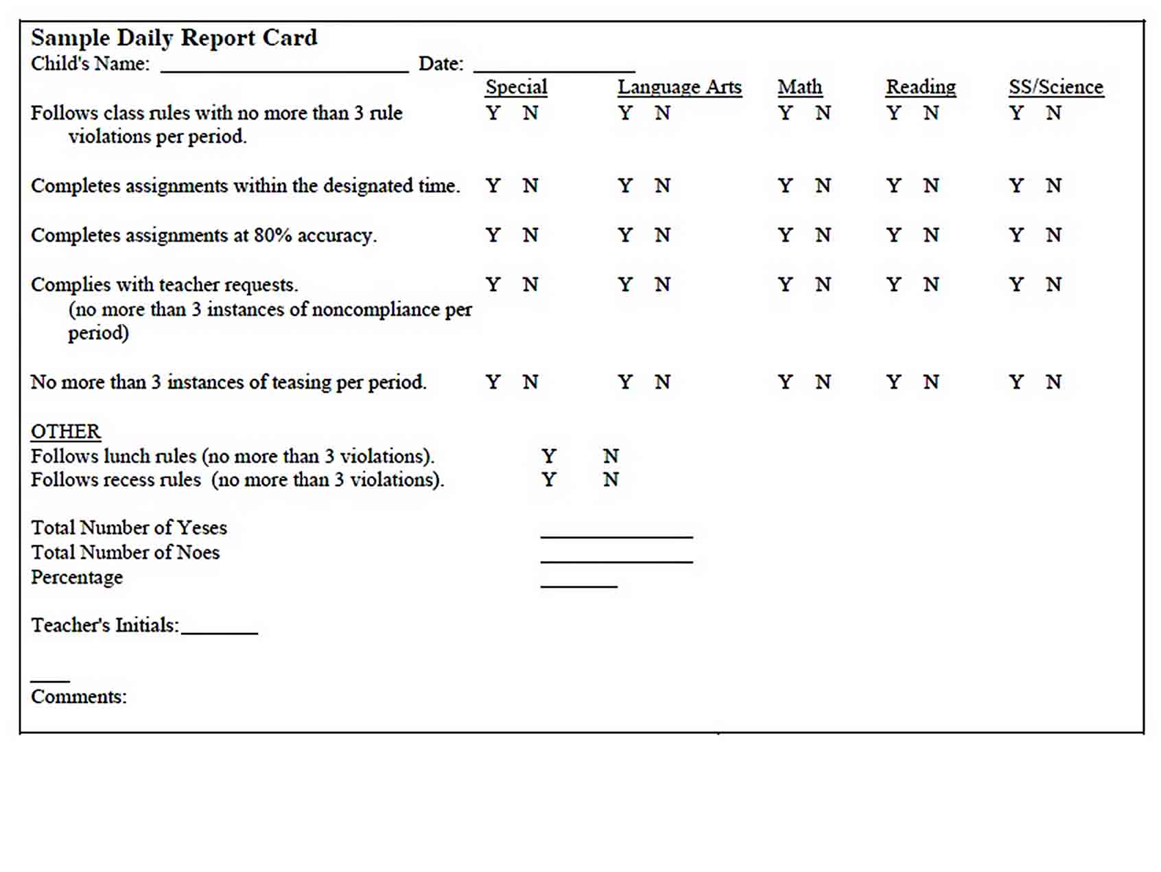 Templates School Daily Behavior Report Card Printable