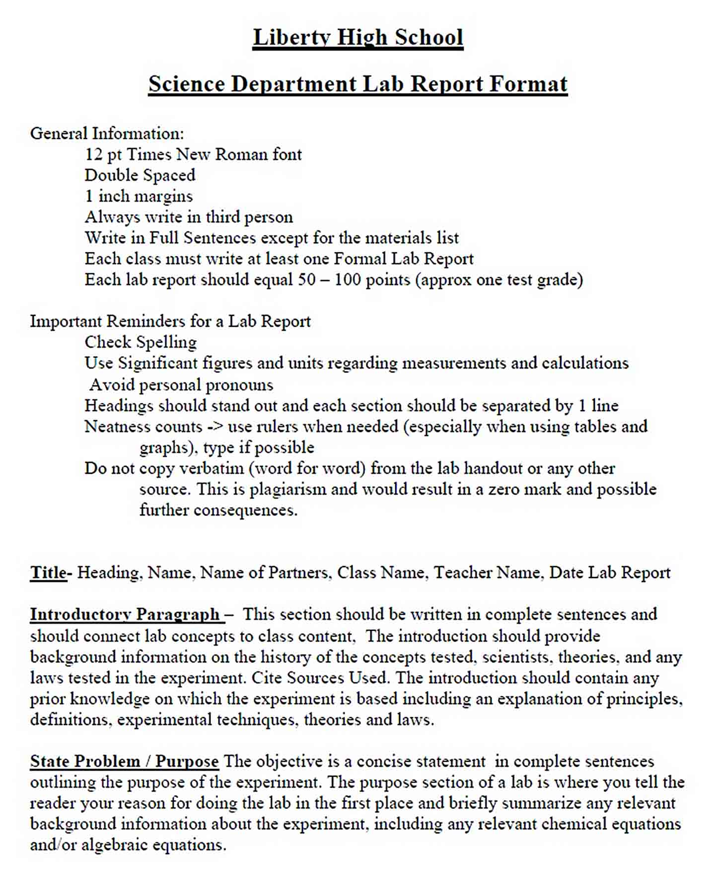 Templates Science Department Lab Report