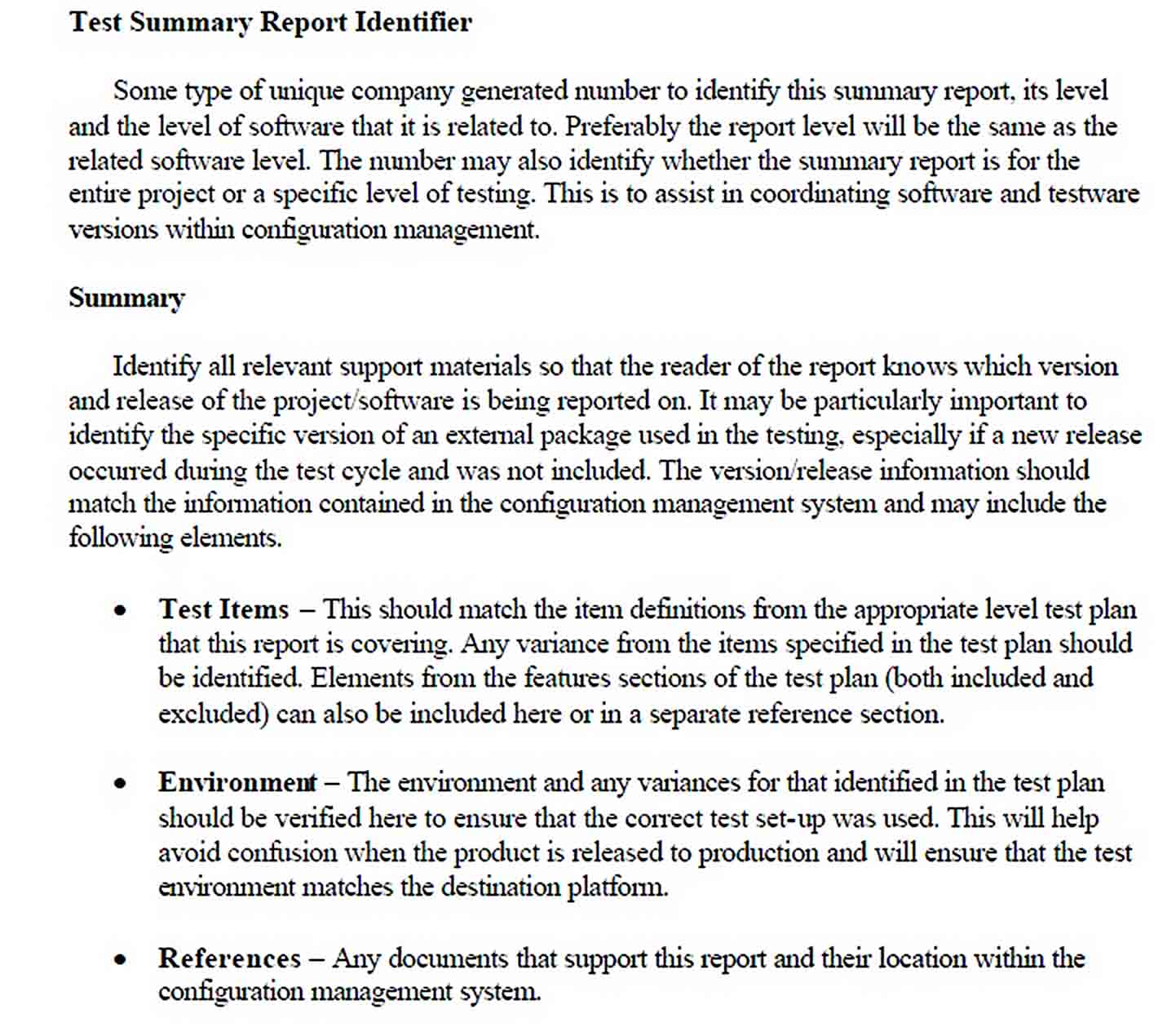 Templates Summary Report