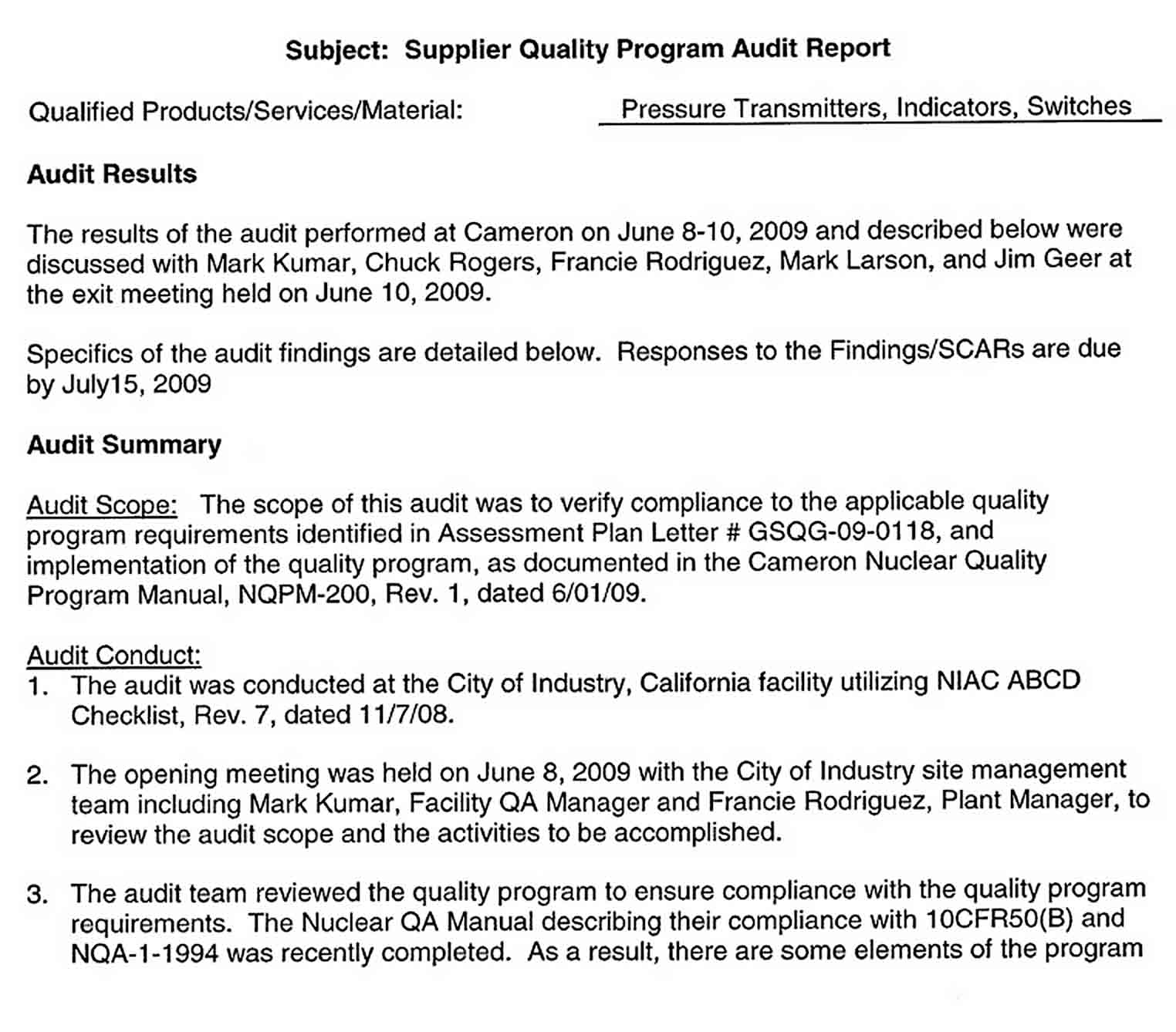 Templates Supplier Quality Audit Report