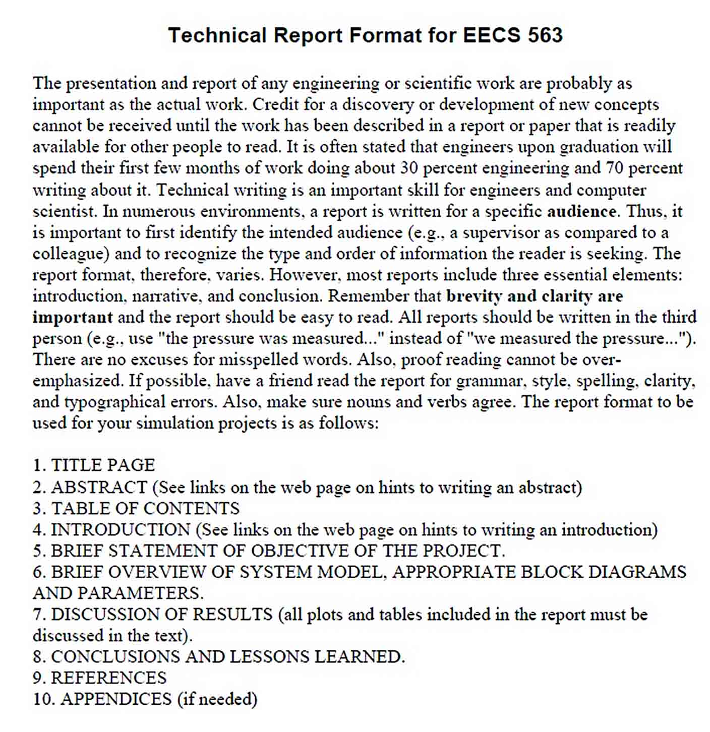 Templates Technical Report Format