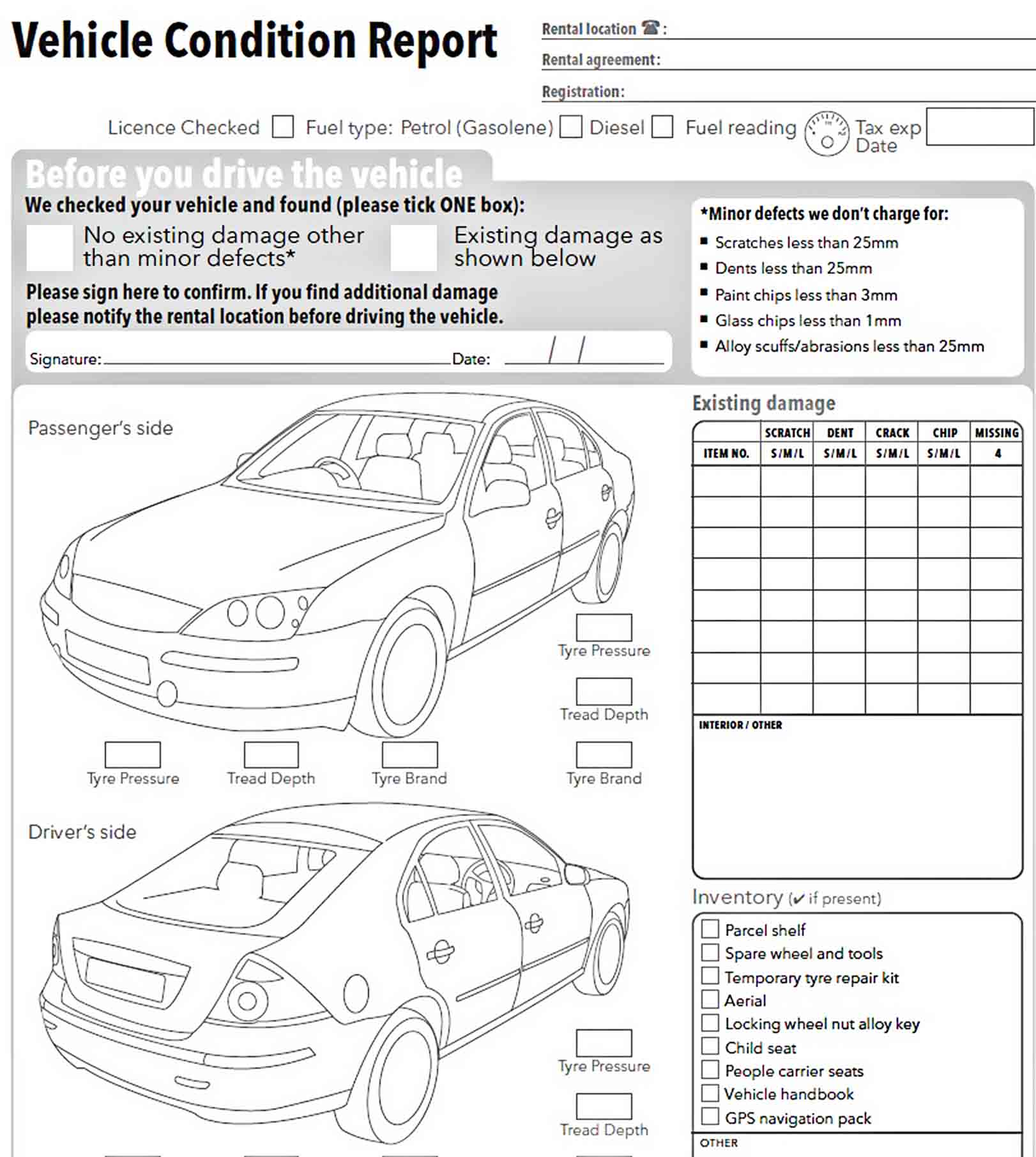 Templates Vehicle Condition Report