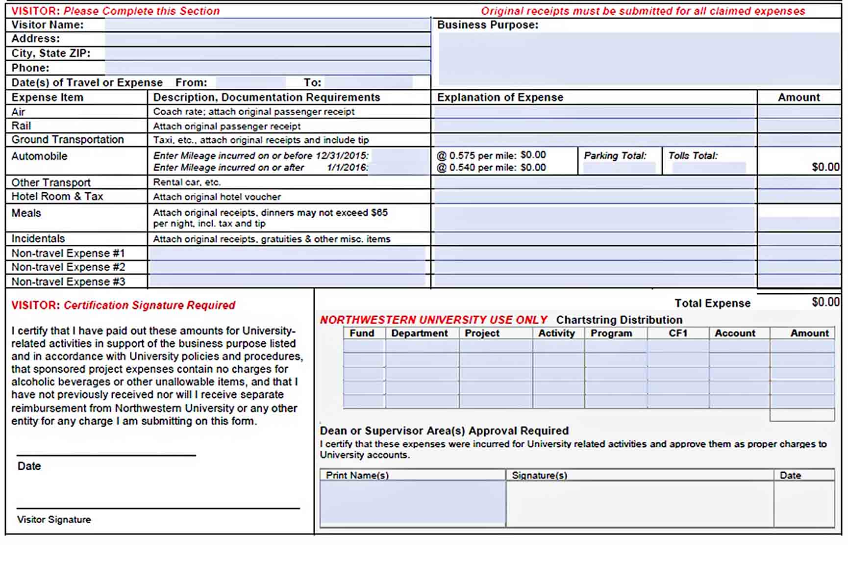 Templates Visitors Expense Report