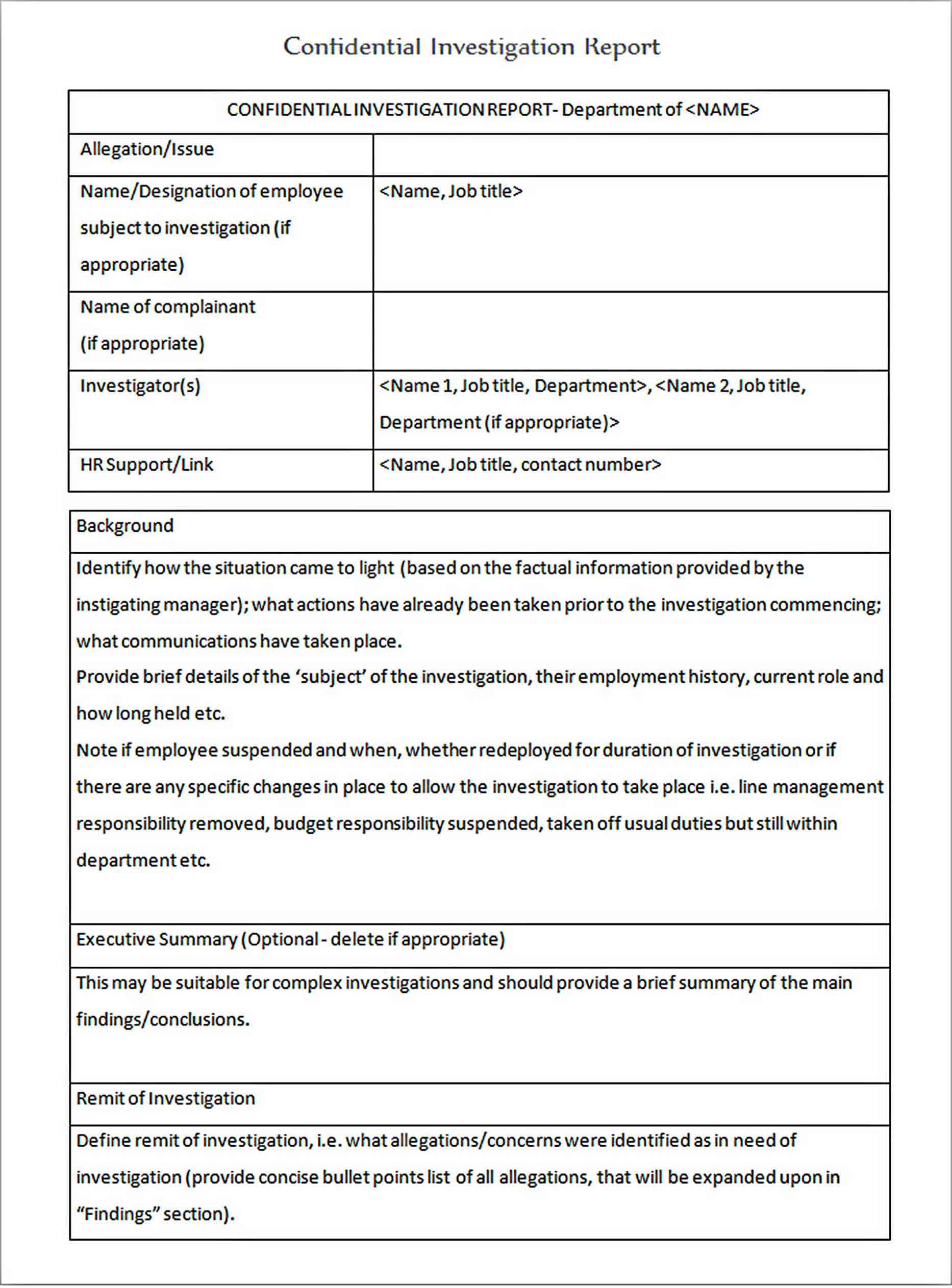 Templates Workplace Confidential Investigation Report