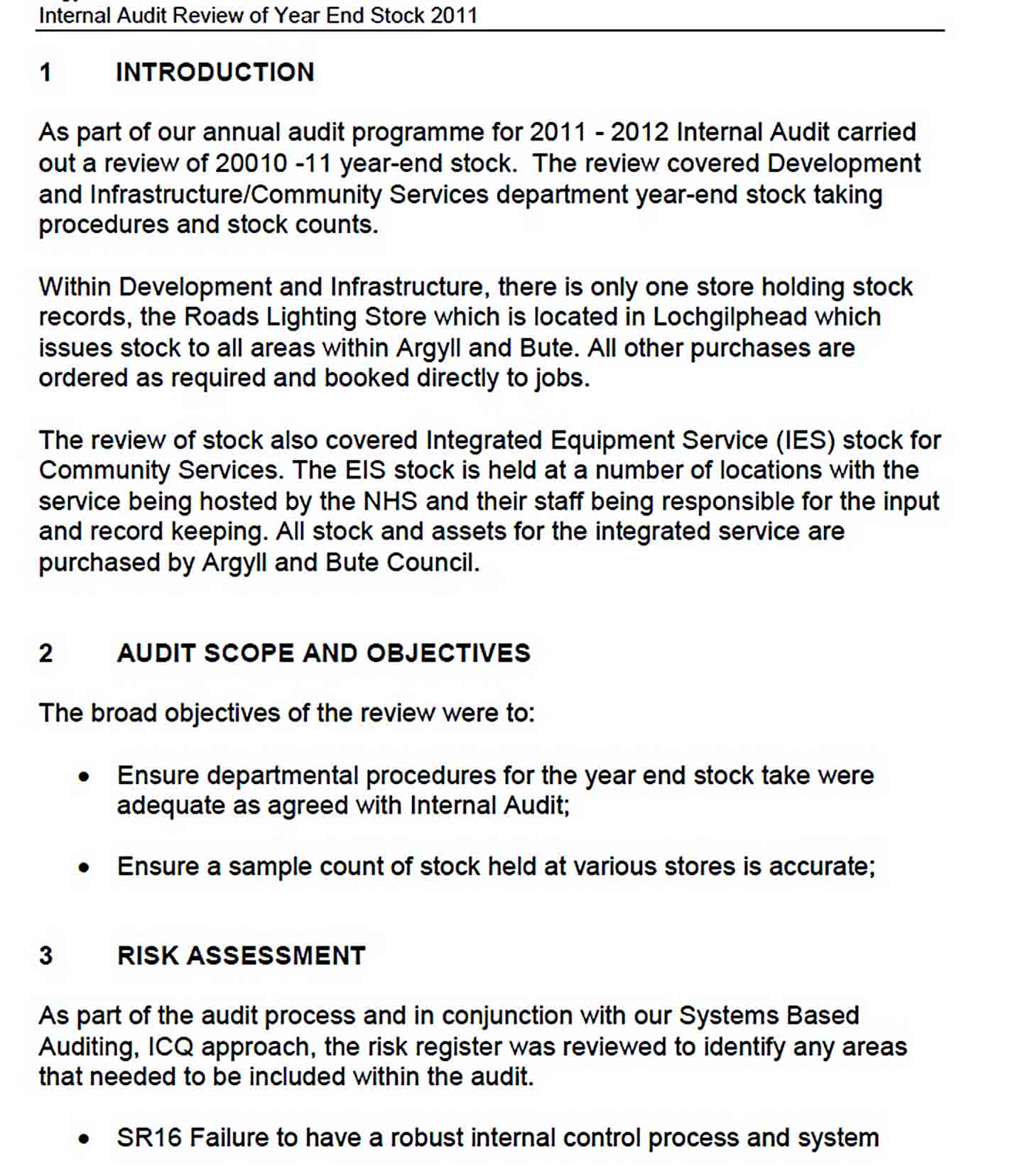 Templates Year End Stock Audit Report Sample