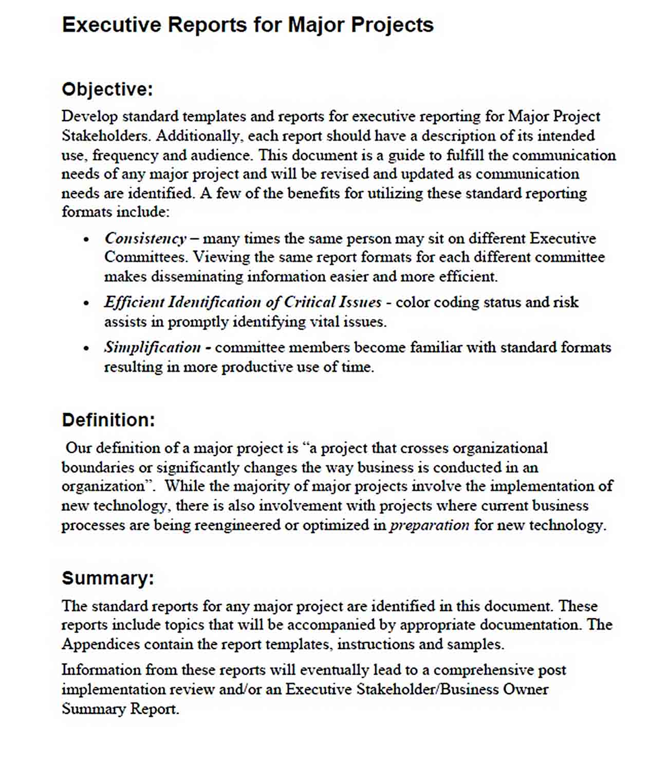 Templates example of executive report