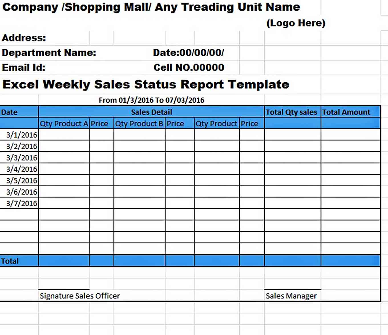 Templates excel weekly sales