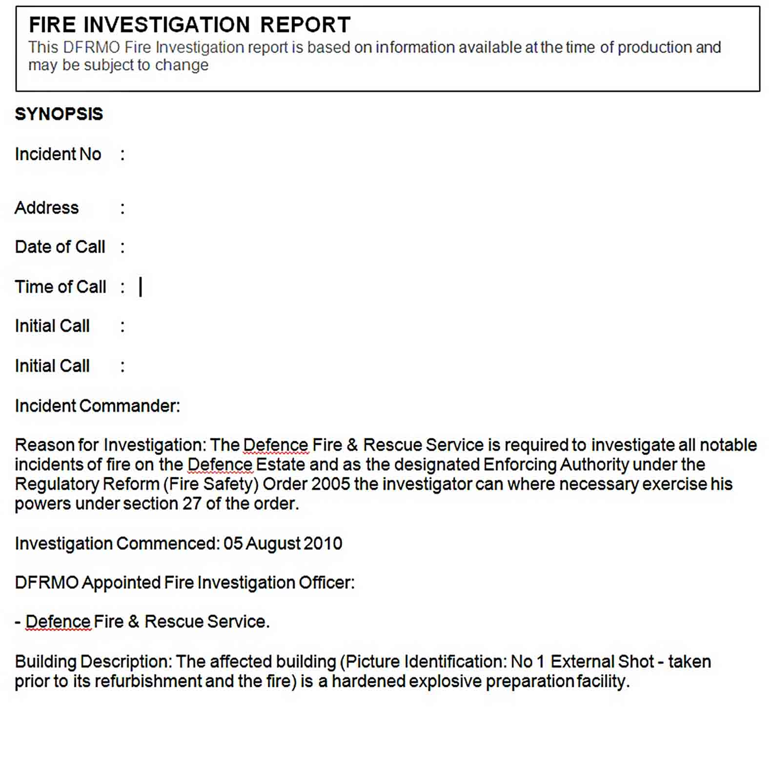Templates fire investigation report