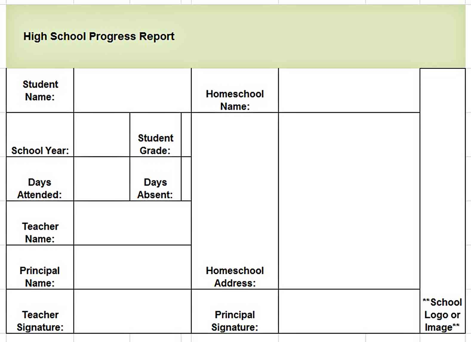 Templates report card download