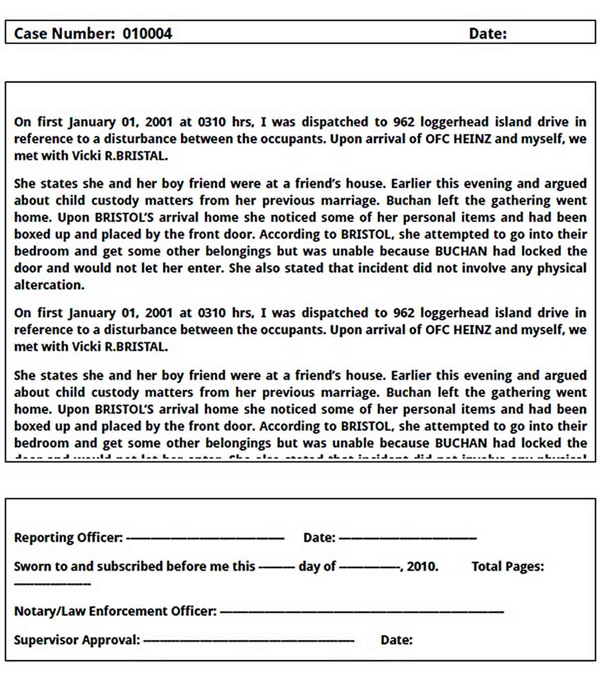Templates sample police report download