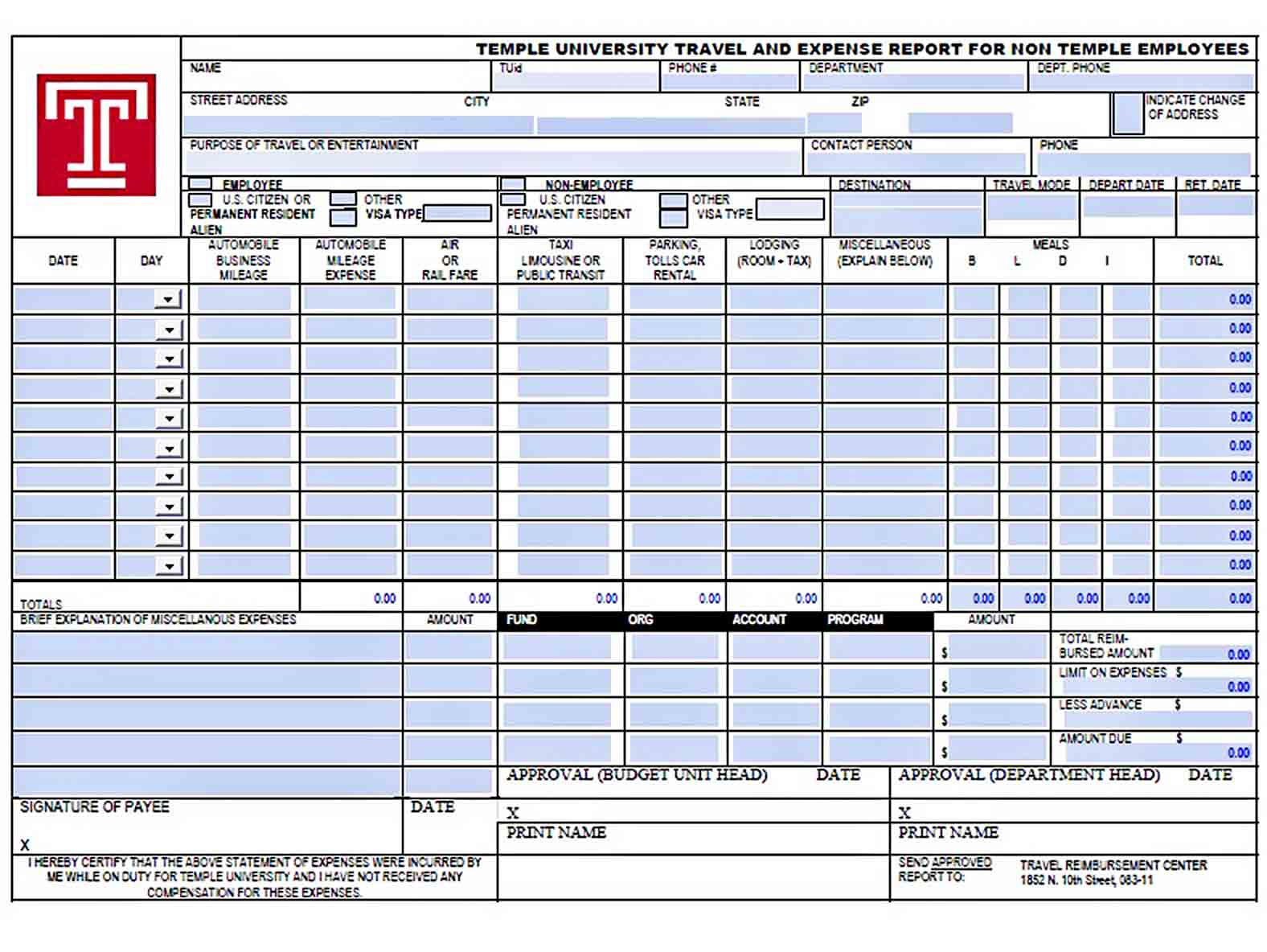 Templates travel and expense report