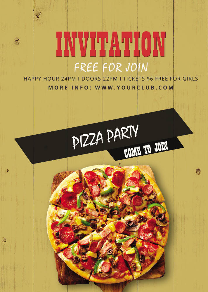 PSD Pizza Party Invitation Template