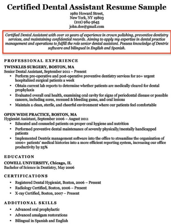 dental assistant resume objective sample